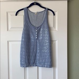 J Crew Stripped Sequin Tank Top